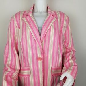 NY Collection Size X Pink Striped Blazer